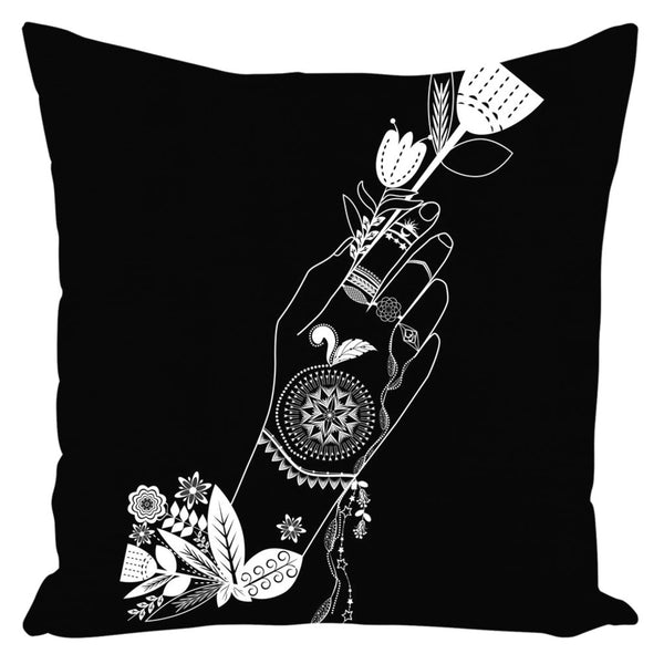 Bohemian Flower Girl from my15bohemianart Collection Black Throw Pillow-famenxt