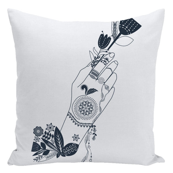 Bohemian Flower Girl from my15bohemianart Collection Throw Pillow-famenxt