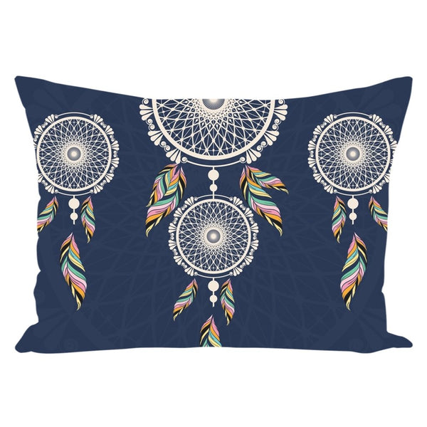 Bohemian Hanging Blue Dreamcatcher from my15bohemianart Collection Throw Pillow-famenxt