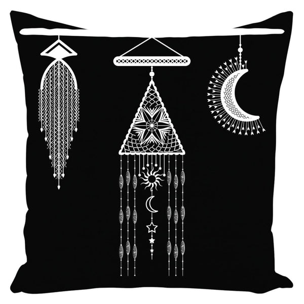 Bohemian Hanging Macrame and Moon from my15bohemianart Collection Throw Pillow-famenxt