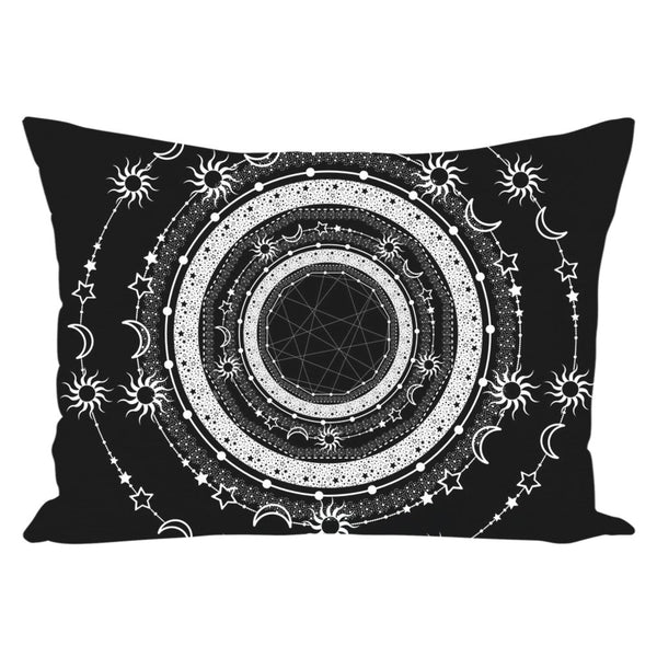 Bohemian Sun Moon Stars from my15bohemianart Collection Black Throw Pillow-famenxt