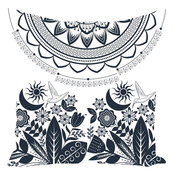 Half Mandala and Secret Garden from my15bohemianart Collection Throw Pillow-famenxt