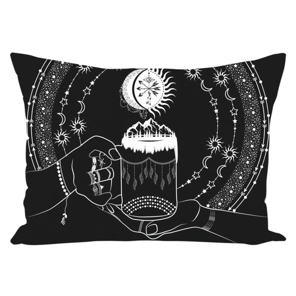 My Bohemian World from my15bohemianart Collection Black Throw Pillow-famenxt