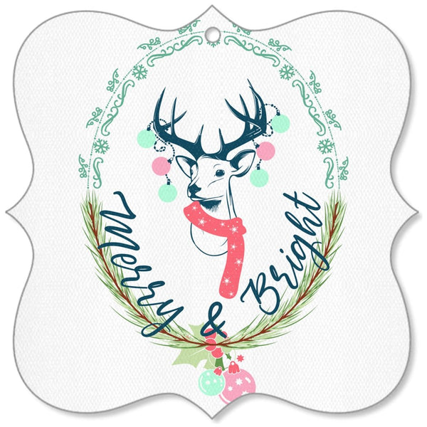 Merry and Bright Deer Canvas Ornaments-famenxt