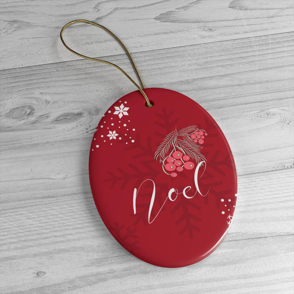 Noel Red Ceramic Ornaments in Four Unique Shapes-Home Decor-famenxt