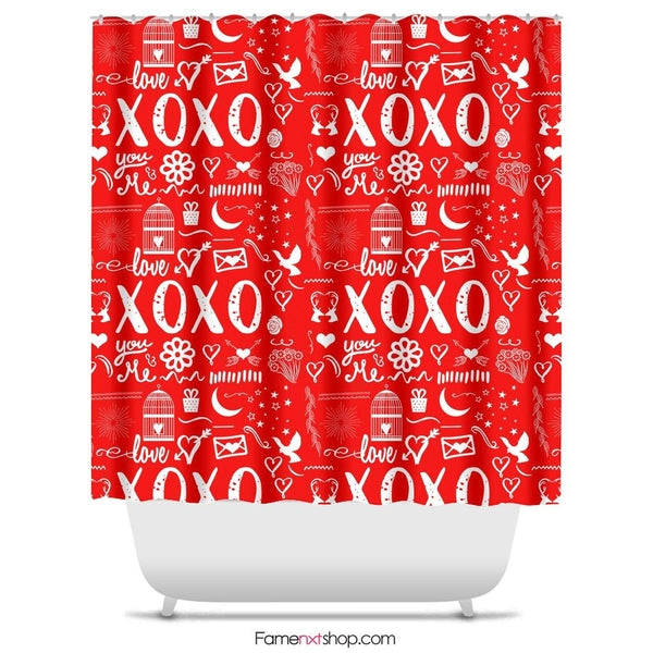"Xoxo hugs and kisses Shower Curtain Sizes: 70in x 70in, 70in x 83in, 70in x 90in, 71in x 74in Sizes: 70"" x 70"", 70"" x 83"", 70"" x 90"", 71"" x 74""-Shower Curtain-famenxt"