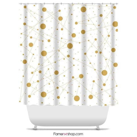 "Golden dots abstract Shower Curtain Sizes: 70in x 70in, 70in x 83in, 70in x 90in, 71in x 74in Sizes: 70"" x 70"", 70"" x 83"", 70"" x 90"", 71"" x 74""-Shower Curtain-famenxt"