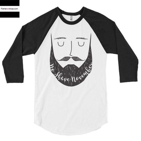 No Shave November 3/4 Sleeve Raglan Baseball T-shirt-Long Sleeves-famenxt