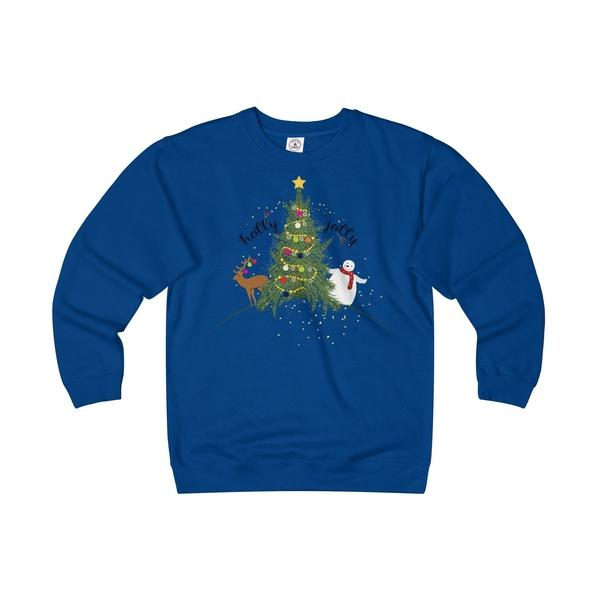 Christmas Sweater Holly Jolly Unisex Heavyweight/Lightweight Fleece Crew-Sweatshirt-famenxt