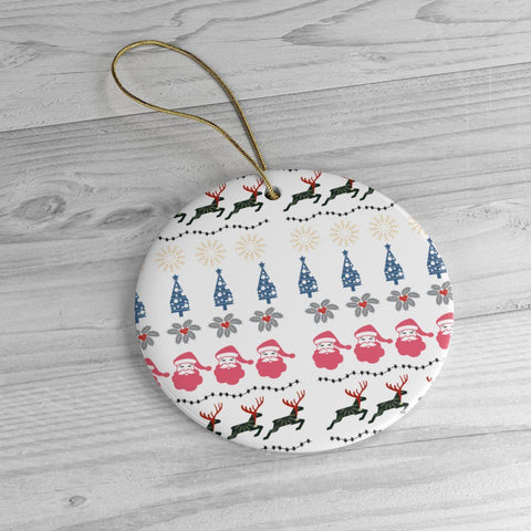 Christmas Pattern White Ceramic Ornaments in Four Unique Shapes-Home Decor-famenxt