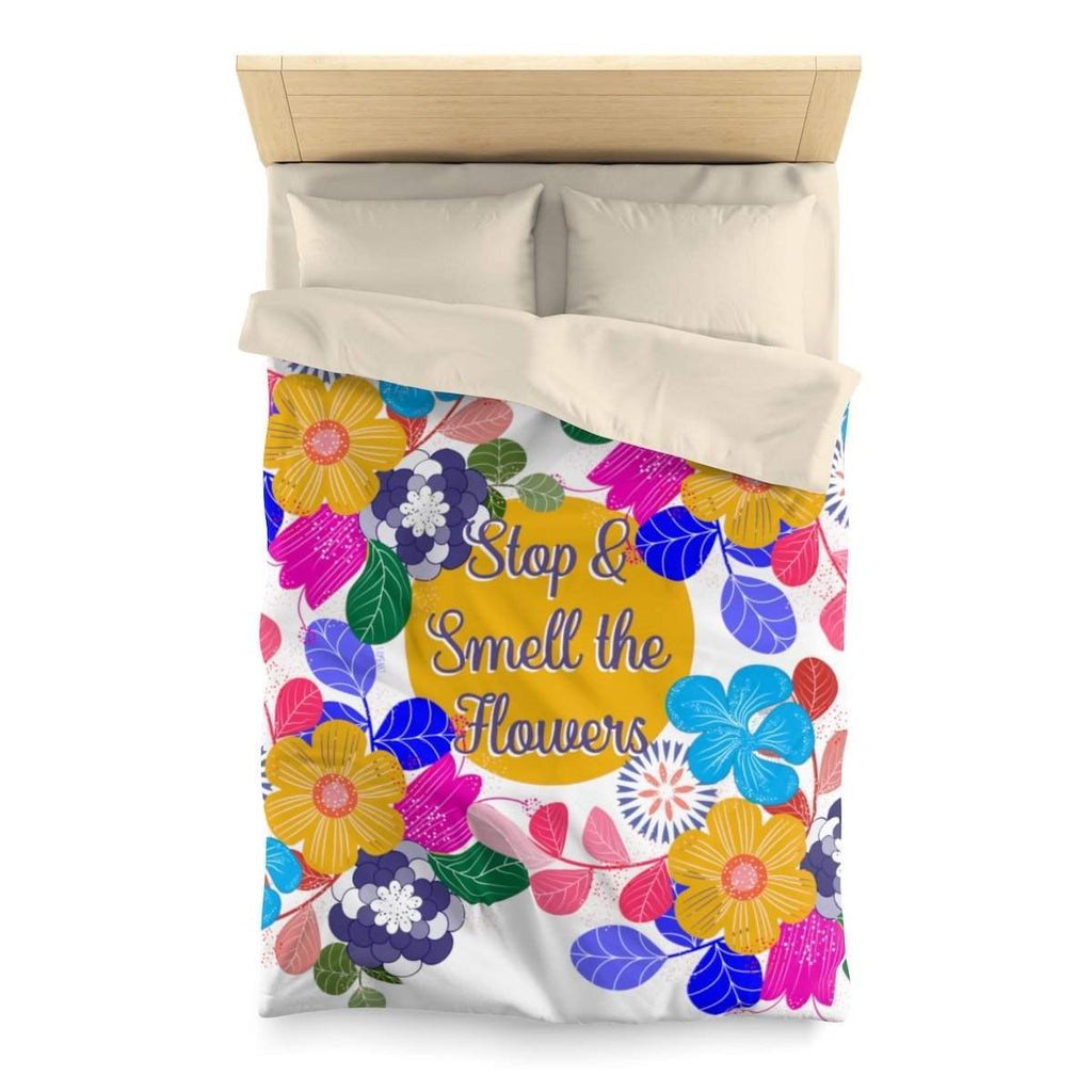 Floral Motivation Microfiber Duvet Cover-Home Decor-famenxt