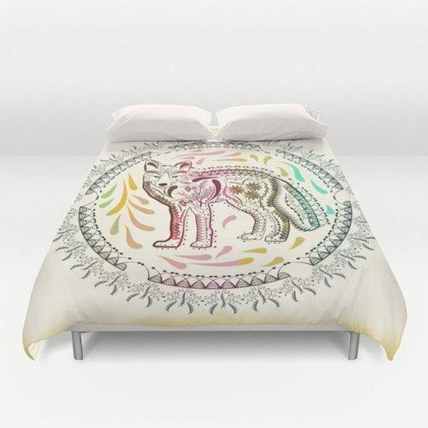 Boho Ornate Fox Duvet Cover-Duvet Cover-famenxt