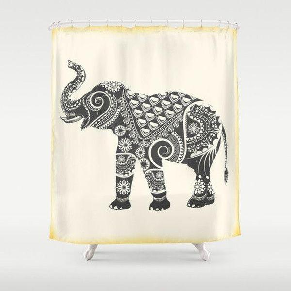 "Ornate Elephant shower curtain Sizes: 70in x 70in, 70in x 83in, 70in x 90in, 71in x 74in Sizes: 70"" x 70"", 70"" x 83"", 70"" x 90"", 71"" x 74""-Shower Curtain-famenxt"