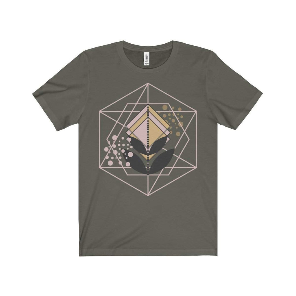 Rose Gold and Gold Geometric Shape Unisex Jersey Short Sleeve Tee-T-Shirt-famenxt