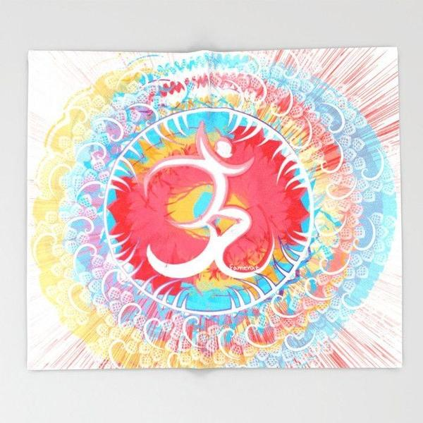 Om Throw blanket, Positive Vibes-Throw Blanket-famenxt