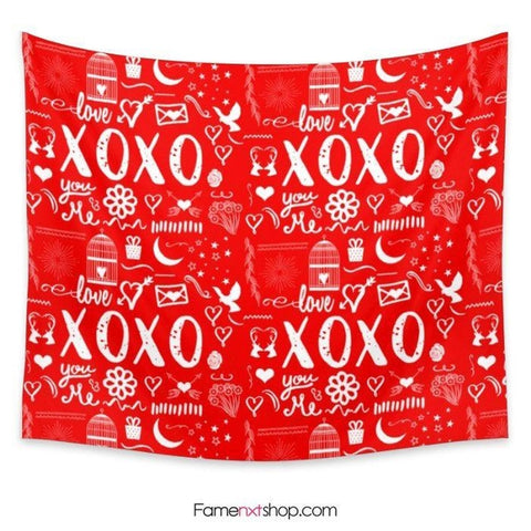 Xoxo hugs and kisses love red Tapestry - famenxtshop.com - 1