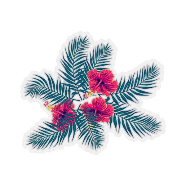 Tropical Palm Leaves and Hibiscus Flowers Stickers-Paper products-famenxt