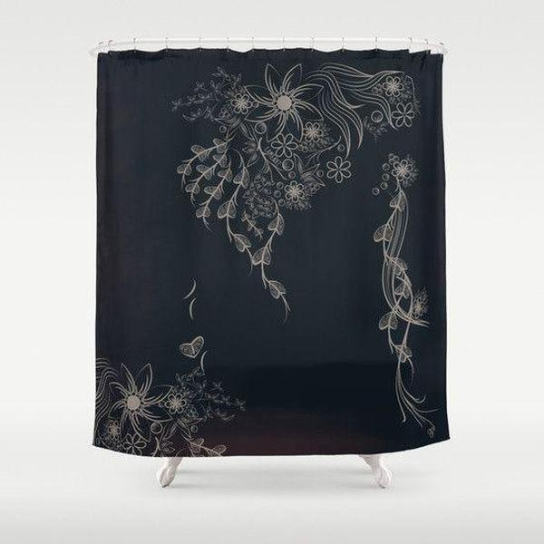 "Shabby chic black shower curtain Sizes: 70in x 70in, 70in x 83in, 70in x 90in, 71in x 74in Sizes: 70"" x 70"", 70"" x 83"", 70"" x 90"", 71"" x 74""-Shower Curtain-famenxt"