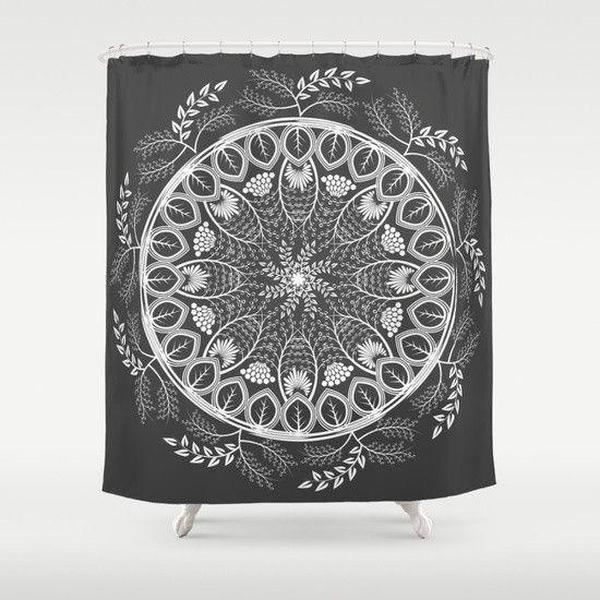 "Mandala boho black shower curtain Sizes: 70in x 70in, 70in x 83in, 70in x 90in, 71in x 74in Sizes: 70"" x 70"", 70"" x 83"", 70"" x 90"", 71"" x 74""-Shower Curtain-famenxt"
