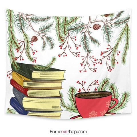 Tea and books winter Tapestry - famenxtshop.com - 1