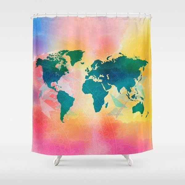 "Watercolor Map shower curtain Sizes: 70in x 70in, 70in x 83in, 70in x 90in, 71in x 74in Sizes: 70"" x 70"", 70"" x 83"", 70"" x 90"", 71"" x 74""-Shower Curtain-famenxt"