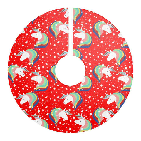 "Unicorn Red 44"" Christmas Tree Skirt-Home Decor-famenxt"