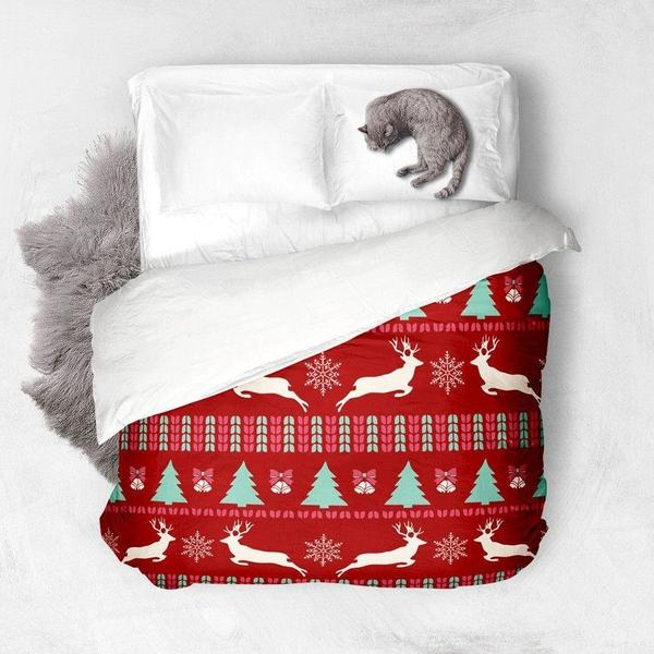 Christmas Pattern red Duvet Cover-Duvet Cover-famenxt