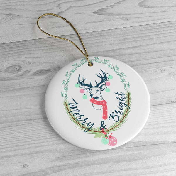 Merry and Bright Ceramic Ornaments in Four Unique Shapes-Home Decor-famenxt