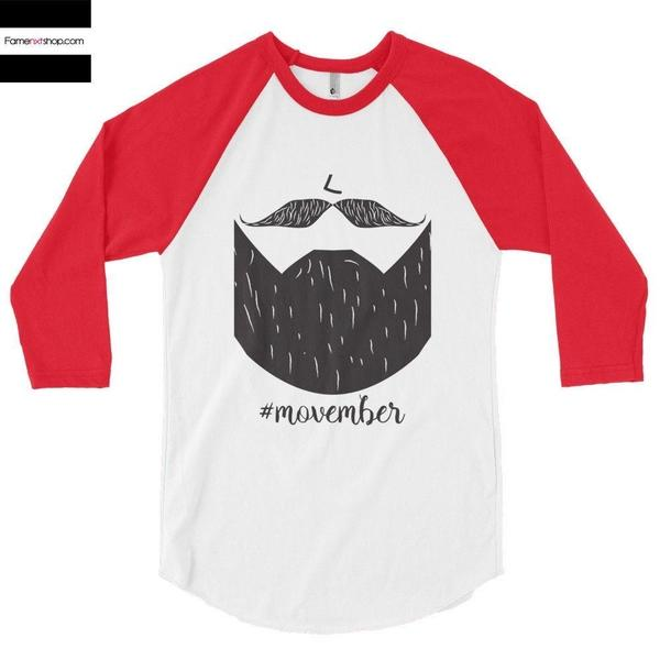 Movember 3/4 Sleeve Raglan Baseball T-shirt-Long Sleeves-famenxt