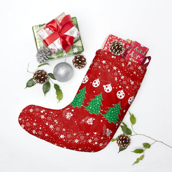 Festive Christmas Vibes Red Christmas Stocking Double Sided Printed-Home Decor-famenxt