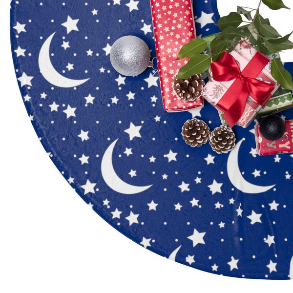 "Starry Night Blue 44"" Christmas Tree Skirt-Home Decor-famenxt"