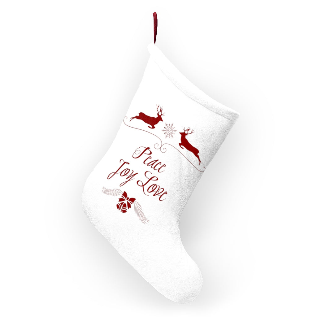 Peace Joy Love White Christmas Decor Christmas Stocking Double Sided Printed-Home Decor-famenxt