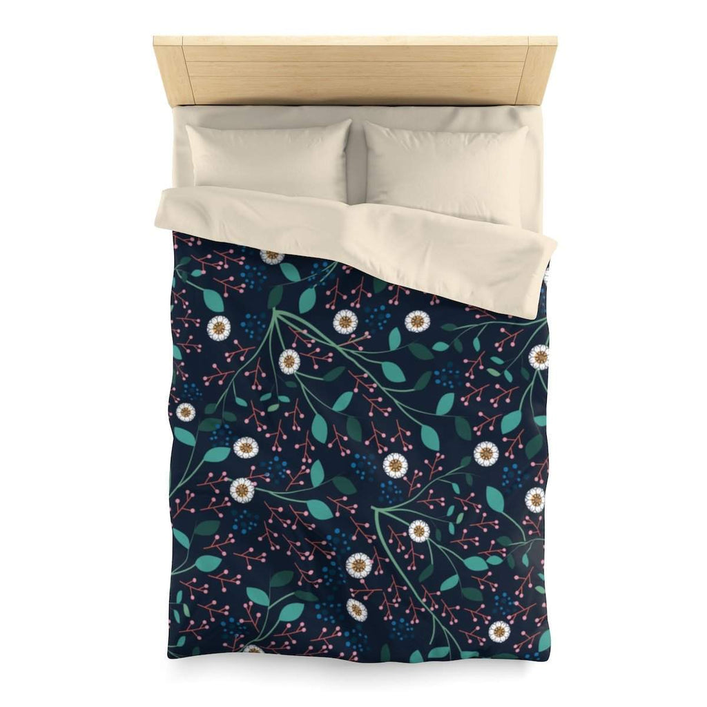Dense Flora Midnight Microfiber Duvet Cover-Home Decor-famenxt