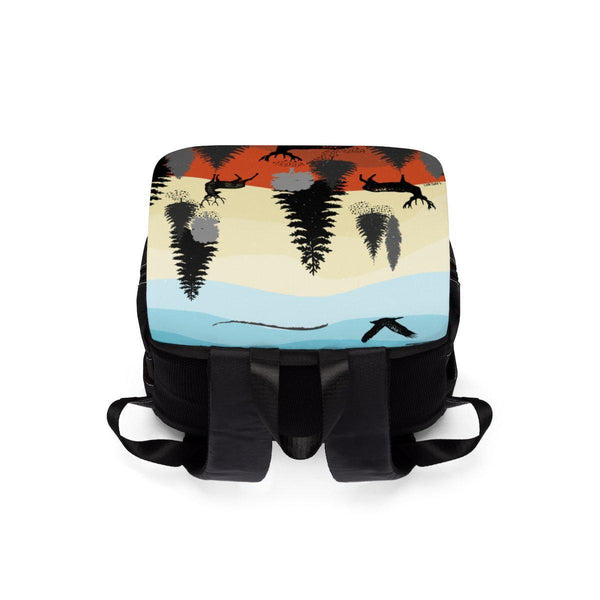 Evening Forest Jungle and Deer Unisex Casual Shoulder Backpack-Bags-famenxt