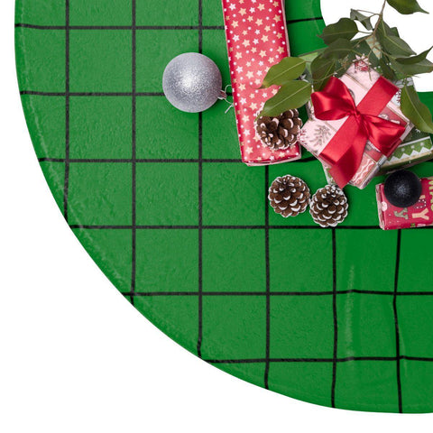 "Green Grid 44"" Christmas Tree Skirt-Home Decor-famenxt"