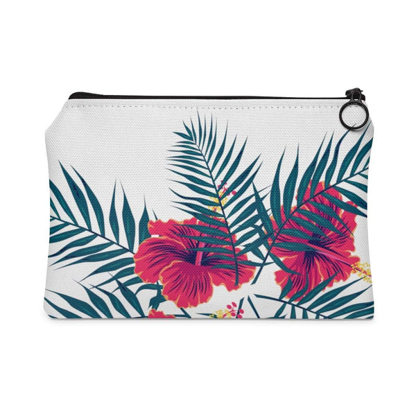 Hibiscus Flowers Palm Leaves Tropical Accessory Pouch-accessory pouches-famenxt