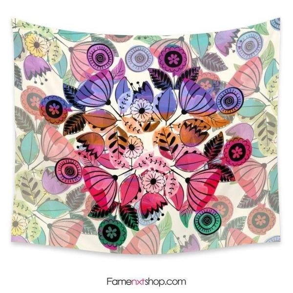 Pink and indigo floral vibes Tapestry-Wall Tapestry-famenxt