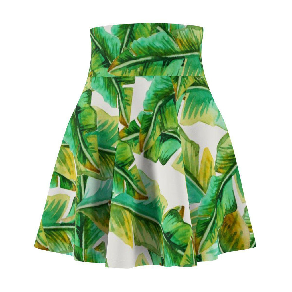 Tropical Banana Leaves Women's Skater Skirt-All Over Prints-famenxt