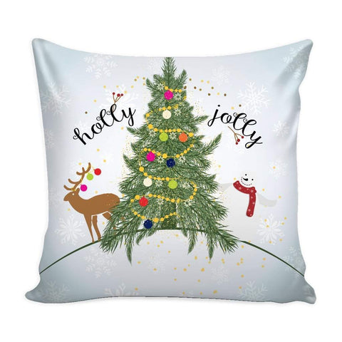 Holly Jolly Christmas Throw Pillow Case with White Back-Pillows-famenxt