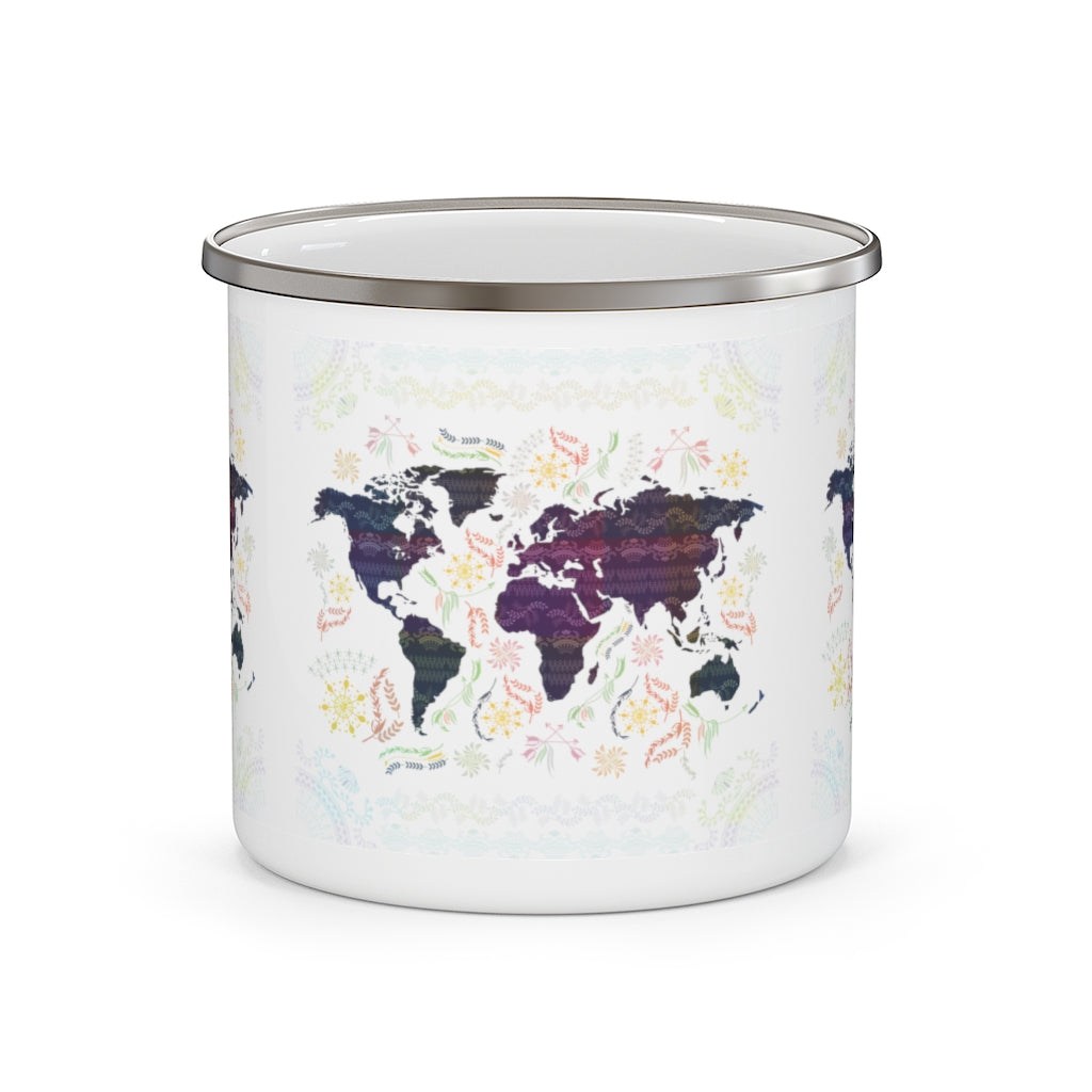World Map Enamel Campfire Mug-Mug-famenxt