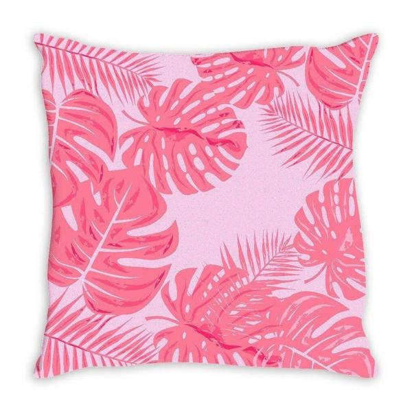 Tropical Leaves flamingo pink throw pillow cover-Pillows-famenxt