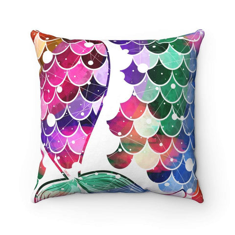 Mermaid Tail Spun Polyester Square Pillow Case-Home Decor-famenxt