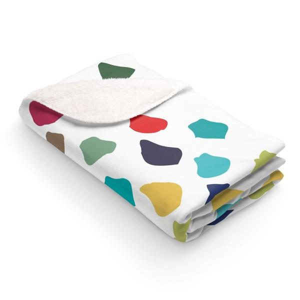 Minimal Colorful Polka Dots Sherpa Fleece Blanket-Home Decor-famenxt