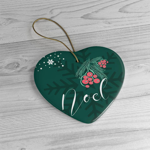 Noel Green Ceramic Ornaments in Four Unique Shapes-Home Decor-famenxt