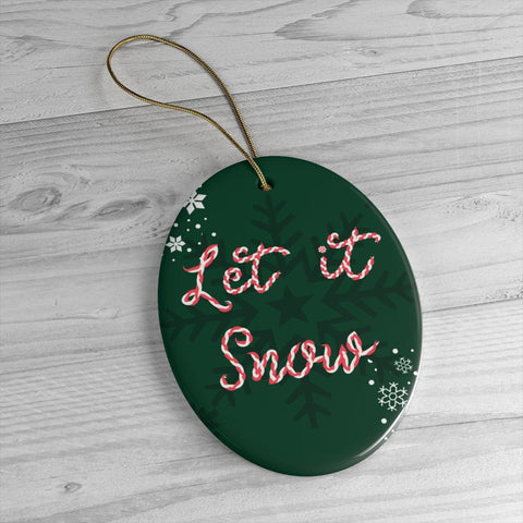 Let it Snow Green Ceramic Ornaments in Two Unique Shapes-Home Decor-famenxt