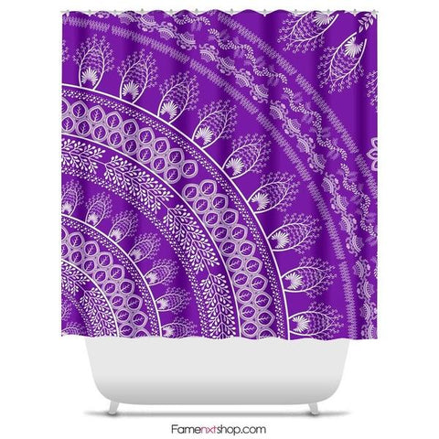 "Purple bohemian mandala Shower Curtain Sizes: 70in x 70in, 70in x 83in, 70in x 90in, 71in x 74in Sizes: 70"" x 70"", 70"" x 83"", 70"" x 90"", 71"" x 74""-Shower Curtain-famenxt"
