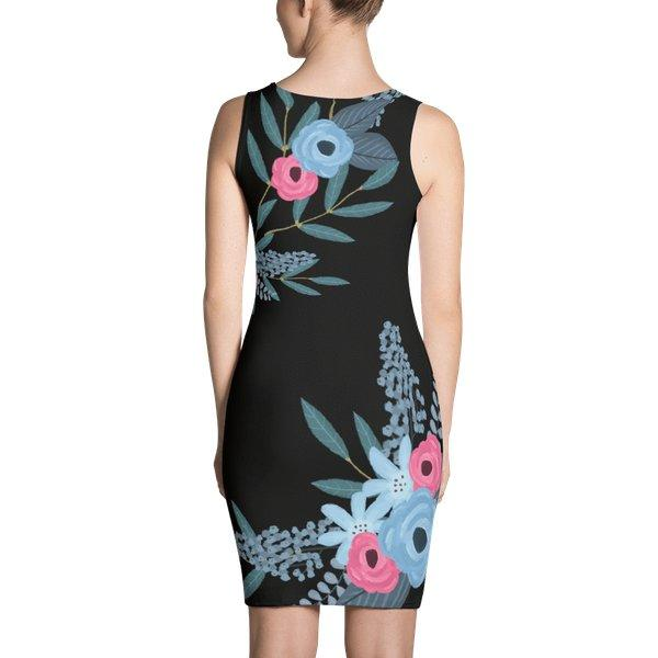 Floral black dress-dress-famenxt