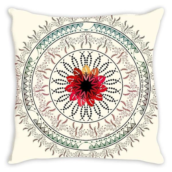 Red wine mandala throw pillow case-famenxt
