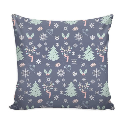 Christmas Blue Pattern Throw Pillow Case with White Back-Pillows-famenxt