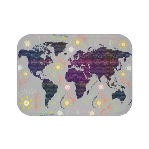 Boho World Map Bath Mat-Home Decor-famenxt